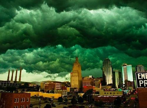 Green Tornado Clouds over KC