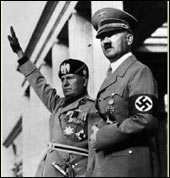 Mussolini with Hitler, in his glory days of power