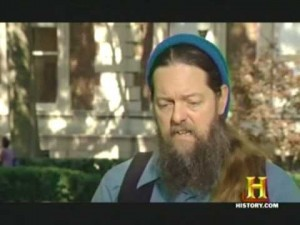 """John Hogue in hour six of his film shoot at Columba University, New York in August 2008: History Channel's """"Next Nostradamus""""."""