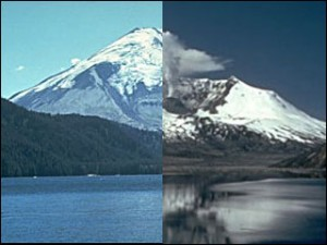 Mount St. Helens before and after the explosion that blew her earthen wig aloft.