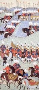Ottoman Cavalry and its elite Janissaries (center). The Islamic terror of Nostradamus' Christendom.