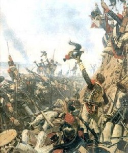 "The Battle of Borodino was the bloodiest single-day clash of arms of the 19th century. It is estimated that in 12 hours of exceedingly violent combat up to 70,000 men were killed or wounded in a three-square mile area (and I may have been foolish enough in a past life to be caught in the cross-fire). Famous last words: ""Beau feu!"" (Good shot!)"