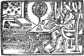 Nostradamus in his study plotting the future with the stars.