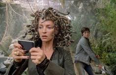 Apologies to Percy Jackson, the Lightning Thief, but Uma Thurmond with her Medusa locks of snakes is a good metaphor for the mind plague spreading its psychic pollution to the etheric mind-sphere.