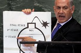 Netanyahu and his cartoon bomb, harranging for war before the United Nations General Assembly.