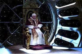 "The Pope Emeritus musing in his new ""retirement"" apartment -- no wonder it took six months to construct."