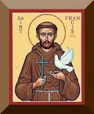 St. Francis of Assisi with his signature white-birdie friend.