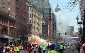 The first and second Boston Marathon explosions caught on camera.