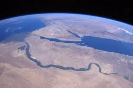 The Nile from space. In that fragile fertile ribbon Egypt crowds 80 million people!