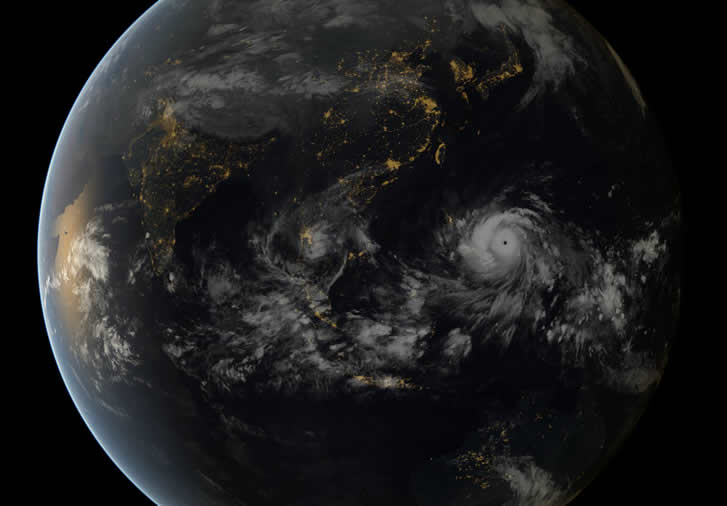 Typhoon Haiyan seen from the night side of Earth.