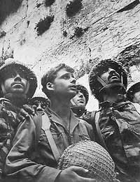 Israeli soldiers at the Wailing Wall, retaken in the Six Day War.