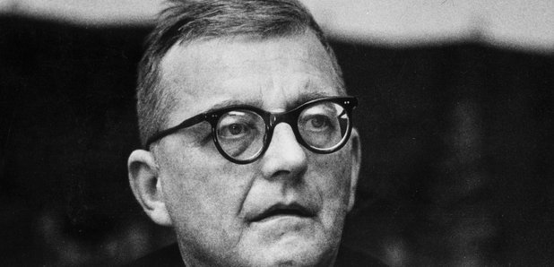 Shostakovich in 1957 listening to a rehearsal of the 11th Symphony.