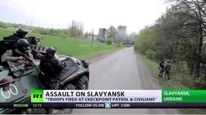 UkraineTroopsRoadSlavansk