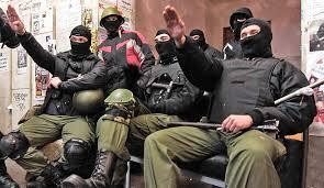 UkrainianNeoNazisSaluteSitting