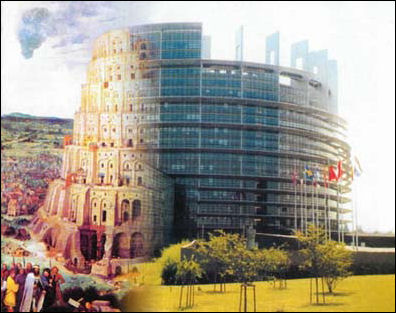 Why does the EU Parliament look like the Tower of Babel? A joke, a architectural Feudian slip?
