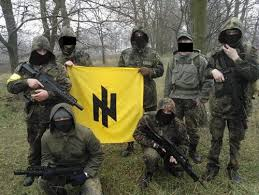 A new generation of Ukrainian fascist fighters of Svoboda.