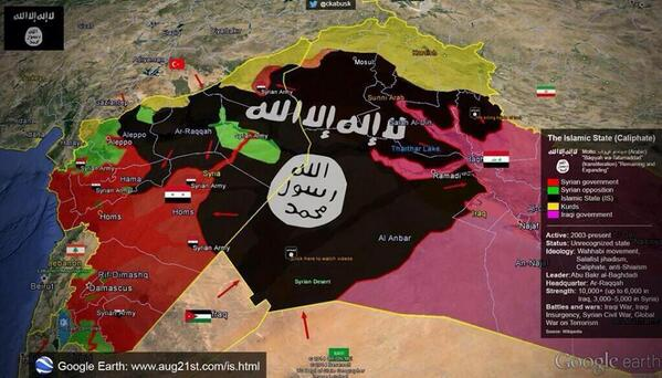 Map of IS Caliphate. Source: Google Earth.