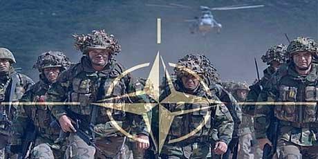 NATOsymbol-Charging soldiers