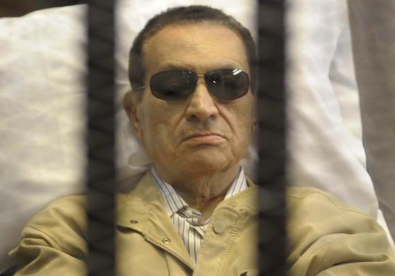 Mubarak behind bars.