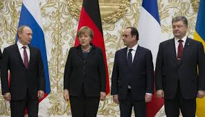 Left to right: Putin, Merkel, Hollande and Poroshenko at the Minsk II talks.
