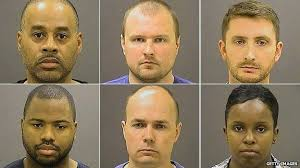 The six officers arrested. At least no one can play the race card here, as they are Caucasian and African American men and a woman. It will be a trial about police behavior.