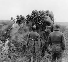 German soldiers, Hitler's murder weapons, shooting prisoners in a ditch like fish in a barrel.