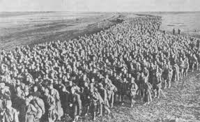 Hundreds of thousands of Soviet prisoners of war herded by Germans from the Vyazma pocket.