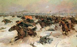The Soviet cavalry regiment charges into the mouths of 88mm German artillery at Musino in the Battle of Moscow.