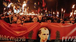A recent neo-nazi Right Sector torchlight march through Kiev, with Bandera banner. Their leader is now speciall advisor to the Ukrainian Army's general commander.