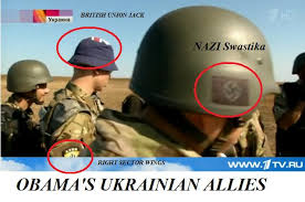 Ukrainian militia just love to flash their Nazi symbols.