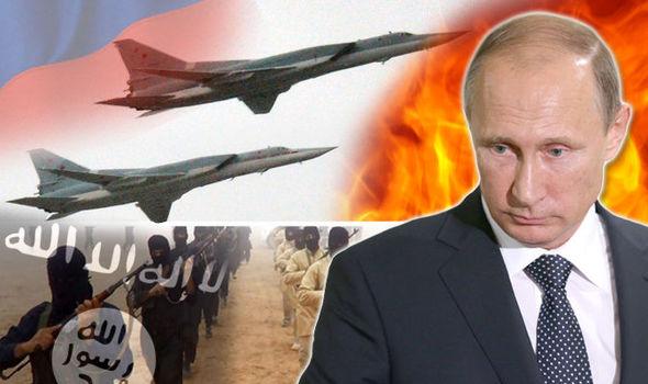 RussianAirstrikesSyria-MontagePutinJetsISIS