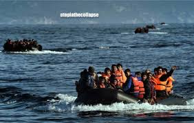 boat loads of Syrian refugees cross the Aegean to disembark in the EU through Greece.
