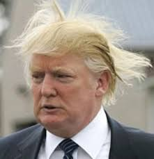 "Trump with wind whipped ""Wagnerian"" hair."