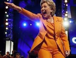 HillaryClintonOrangePantsuitpointing