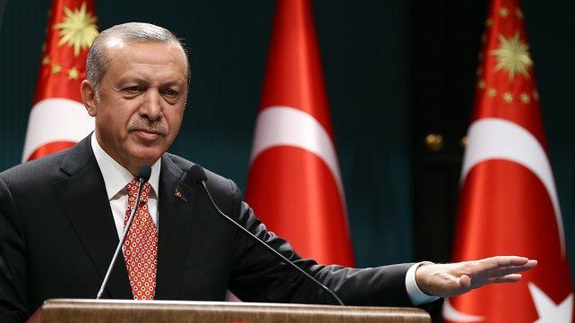 ErdoganPodiumConeTurkishFlagsBkground