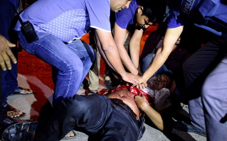 Bangladeshi policeman mortally wounded during the all-night standoff at the Holey Bakery.