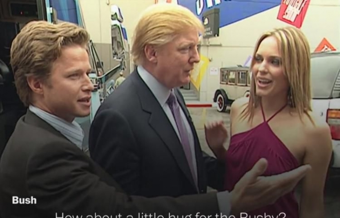 "As the song goes, Billy Bush and Trump ""get off the bus and forget about us"" talking sexist macho man..."