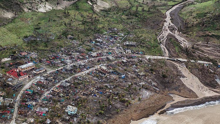 A village obliterated in Haiti by Hurricane Matthew.