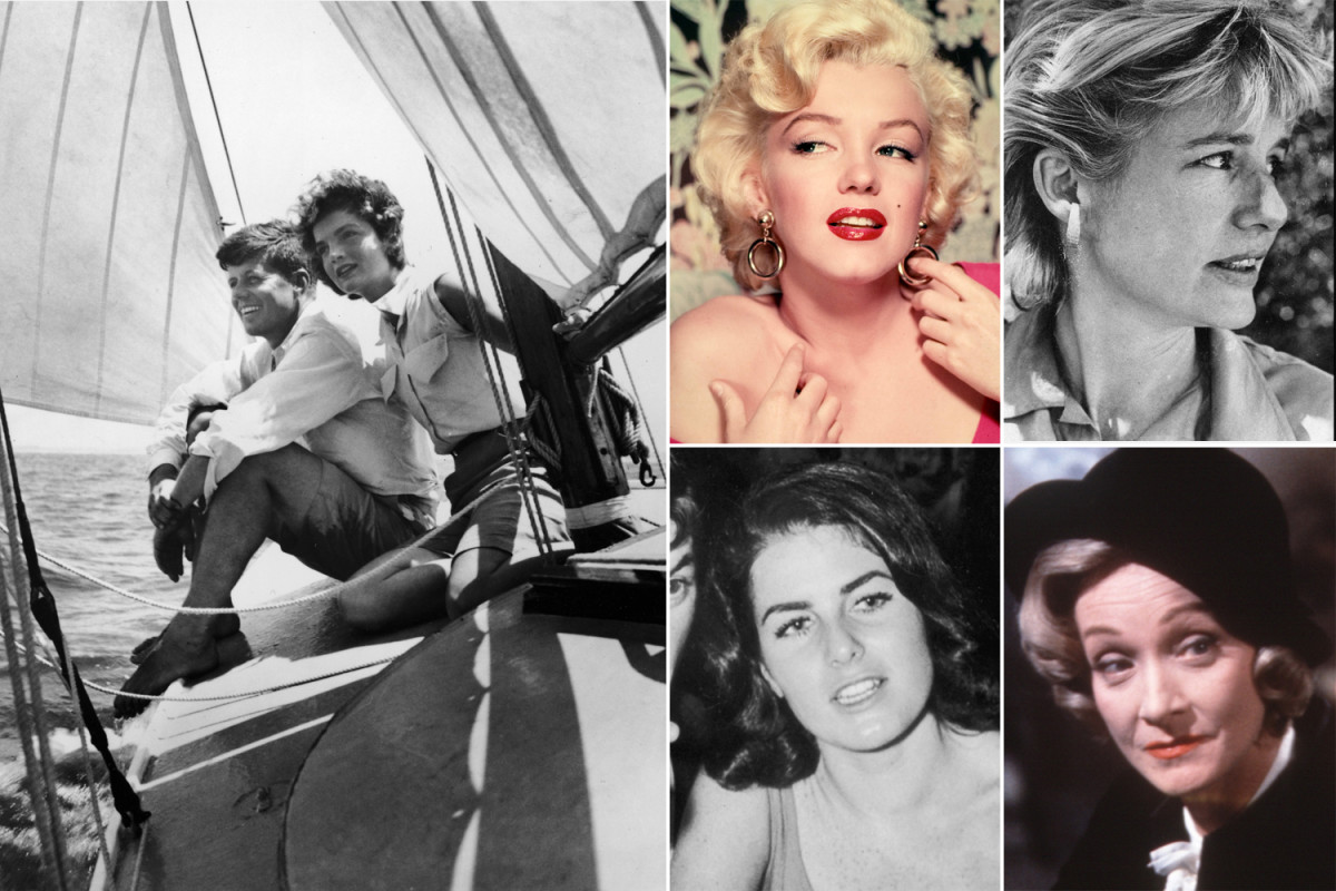 Kennedy with wife Jackie and his many mistresses, movie star Marylyn Monroe, socialite Mary Pinchot Meyer, Mafia Moll Judith C. Exner and acress Marlene Dietrich.