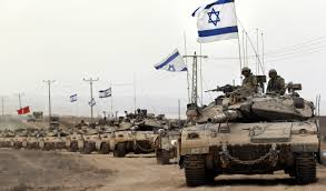 GazaStrip-IsraeliTankColumnMogenDavidFlags
