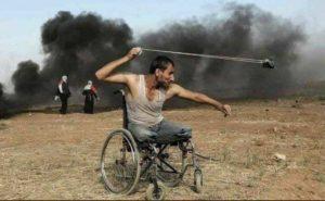 GazaPalestinianWheelchairNoLegsSlingShot