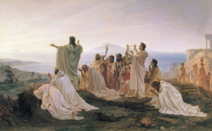 640px-Plythagoreans celebrate Sunrise, painting by Fyodor Bronnikov 1869