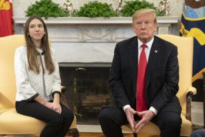 President Trump neets with Fabiana Rosales de Guaido, wife of presumptive US backed President of Venezuela, Juan Guaido.