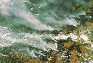 Smoke over Moscow, 21 July 2010, from some of the 500 megafires that raged across Russia. Source: ESA