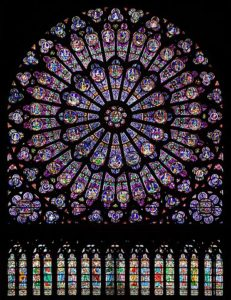 The great rose stain-glass window of Notre-Dame before the 15 April 2019 Fire. Photo by Julie Anne Workman, © Creative Commons