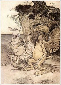 "Alice's Adventures in Wonderland - The Mock Turtle drew a long breath and said: ""That's very curious."" Artist: Arthur Rackham (1867-1939)."