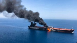One of two tankers attacked in the Gulf of Oman, 13 June 2019. Source: ISNA.