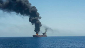The tanker Front Altair aflame and abandoned by its crew after 13 June attack. Source: ISNA.