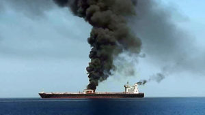 One of two tankers attacked on 13 June, abandoned and cast adrift in the Gulf of Oman after sailing out of the Strait of Hormuz. Source: IRIB.