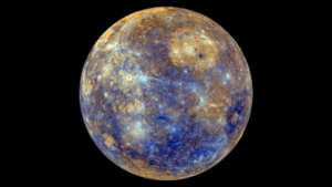 False color NASA photo of the Planet Mercury.